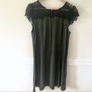 Kensie black lace and olive back zip dress